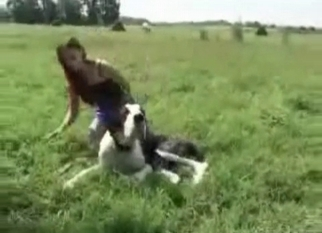 Doggy and slutty zoophile enjoy sex